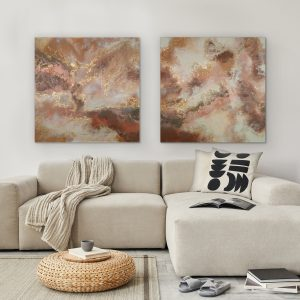 Somewhere in Time Diptych Limited Edition Print by Sarah Malone above couch interior